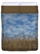 Weeds And Dappled Sky Duvet Cover