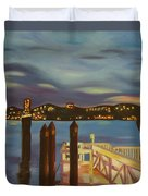 Weehawken From Pier 78 Duvet Cover by Milagros Palmieri