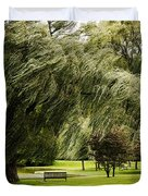 Weeping Willow Trees On Windy Day Duvet Cover