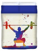Weightlifter Paint Splatter Duvet Cover