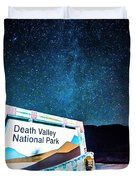 Welcome Sign To Death Valley National Park California At Night Duvet Cover