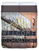 Welcome To Chinatown Sign In Manhattan Duvet Cover