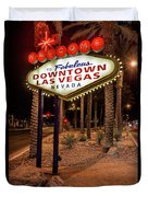 R.i.p. Welcome To Downtown Las Vegas Sign At Night Duvet Cover