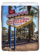 R.i.p. Welcome To Downtown Las Vegas Sign Day Duvet Cover