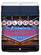 Welcome To Downtown Las Vegas Sign Slotzilla Duvet Cover