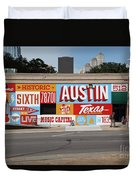 Welcome To Historic Sixth Street Is A Famous Mural Located At 6th Street And I-35 Frontage Road, Austin, Texas - Stock Image Duvet Cover