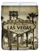 Welcome To Las Vegas Series Sepia Grunge Duvet Cover