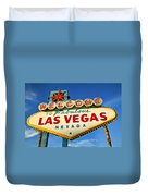 Welcome To Las Vegas Sign Duvet Cover by Garry Gay
