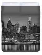 Welcome To Penn's Landing Bw Duvet Cover