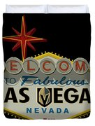 Welcome To Vegas Knights Sign Digital Drawing Duvet Cover