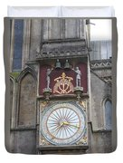 Wells Cathedral Outside Clock Duvet Cover