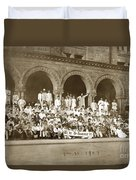 We're Up Against It,students On Steeps Of Encina Hall At Stanford University April 18,1907 Duvet Cover