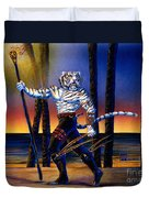 Werecat With Torch Duvet Cover
