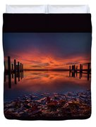 West Boat Launch Fall Sunrise Duvet Cover