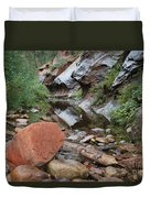 West Fork Trail River And Rock Horizontal Duvet Cover