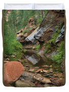 West Fork Trail River And Rock Vertical Duvet Cover by Heather Kirk