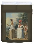 West Indian Women Of Color, With A Child And Black Servant Duvet Cover