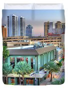 West Palm At Twilight Duvet Cover