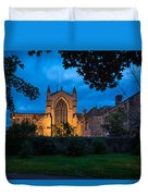 West Side Of Hexham Abbey At Night Duvet Cover