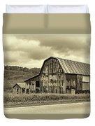 West Virginia Barn Sepia Duvet Cover