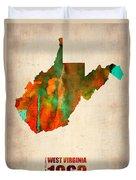 West Virginia Watercolor Map Duvet Cover by Naxart Studio
