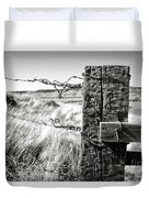 Western Barbed Wire Fence Black And White Duvet Cover