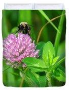 Western Honey Bee On Clover Flower Duvet Cover