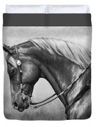 Western Horse Black And White Duvet Cover by Crista Forest