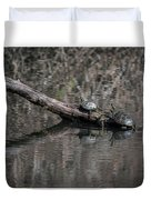 Western Painted Turtles On A Log Duvet Cover