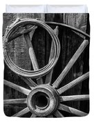 Western Rope And Wooden Wheel In Black And White Duvet Cover