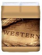 Western Stamp Branding Duvet Cover