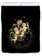Western Zodiac - Golden Gemini - The Twins On Black Canvas Duvet Cover