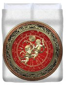 Western Zodiac - Golden Gemini - The Twins On White Leather Duvet Cover