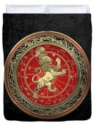 Western Zodiac - Golden Leo - The Lion On Black Velvet Duvet Cover