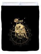Western Zodiac - Golden Taurus - The Bull On Black Canvas Duvet Cover