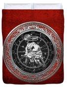 Western Zodiac - Silver Taurus - The Bull On Red Velvet Duvet Cover