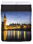 Westminster Bridge And Big Ben Art Duvet Cover