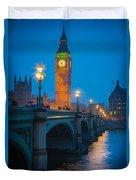 Westminster Bridge At Night Duvet Cover