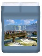 Wet Walkways In The Iguazu River In Iguazu Falls National Park-brazil  Duvet Cover