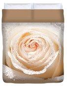 Wet White Rose Duvet Cover