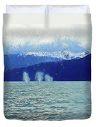 Whales Blowing Duvet Cover