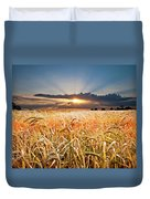 Wheat At Sunset Duvet Cover by Meirion Matthias