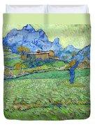 Wheat Fields In A Mountainous Landscape, By Vincent Van Gogh, 18 Duvet Cover
