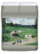 When The Cows Come Home, It's Milking Time Duvet Cover