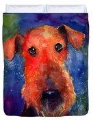 Whimsical Airedale Dog Painting Duvet Cover by Svetlana Novikova