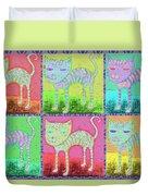 Whimsical Colorful Tabby Cat Pop Art Duvet Cover