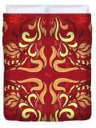 Whimsical Organic Pattern In Yellow And Red I Duvet Cover