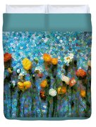 Whimsical Poppies On The Blue Wall Duvet Cover