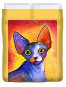Whimsical Sphynx Cat Painting Duvet Cover