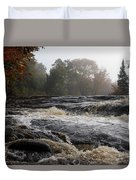 Whiskey River - Foggy Fall Waterscape Duvet Cover